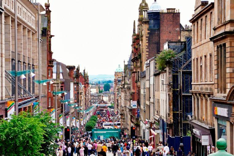 Downtown Glasgow, Scotland, UK.
