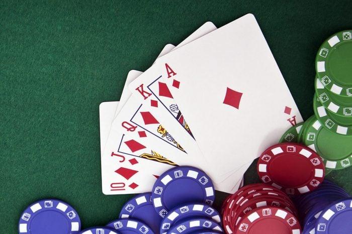 Royal flush & gambling chip