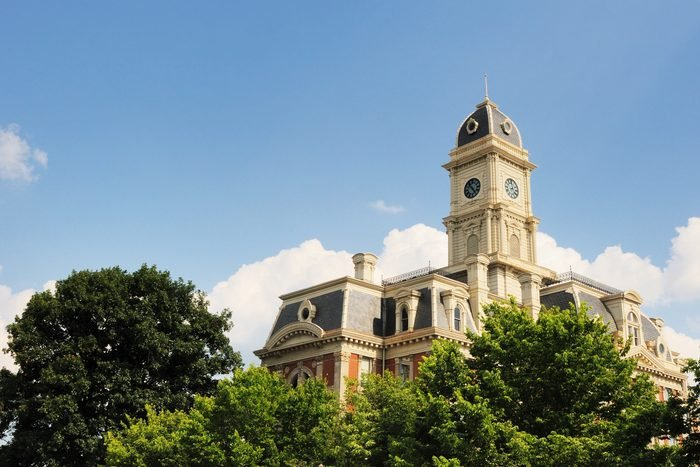 The historic Hamilton County Courthouse in Noblesville, IN