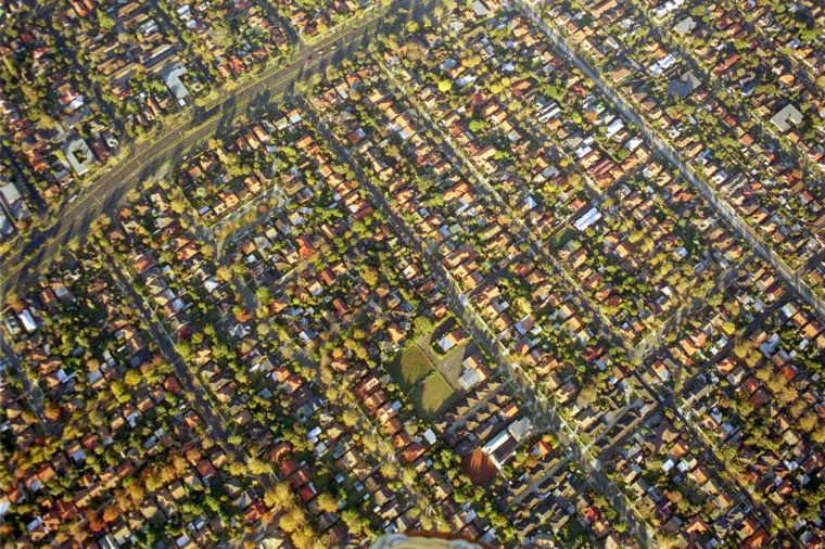 Colorful aerial view of suburbs of Melbourne, Australia