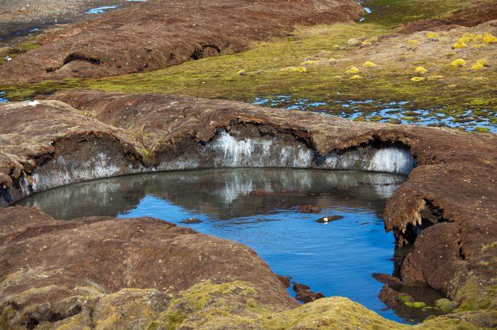Ice under permafrost soil in Spitzbergen