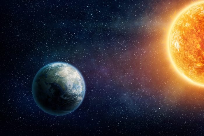 Graphic illustration of the Earth and the sun