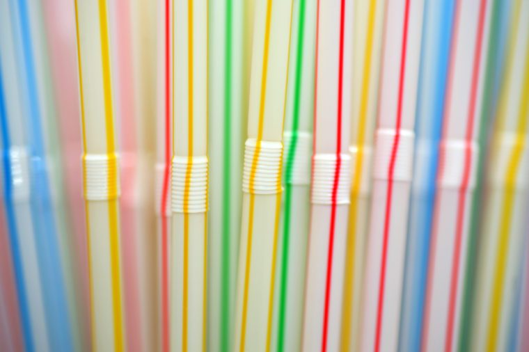 Macro shot of colorful plastic drinking straws
