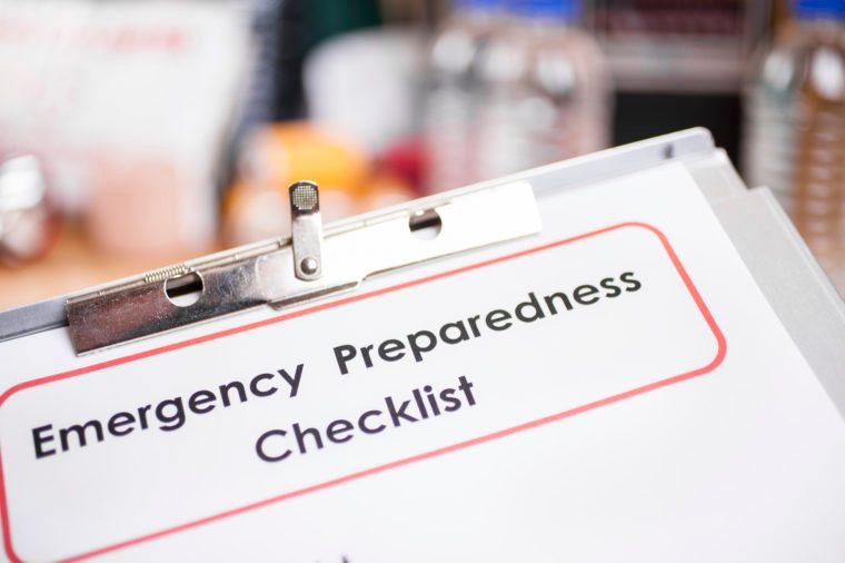 Emergency preparedness checklist and natural disaster supplies.