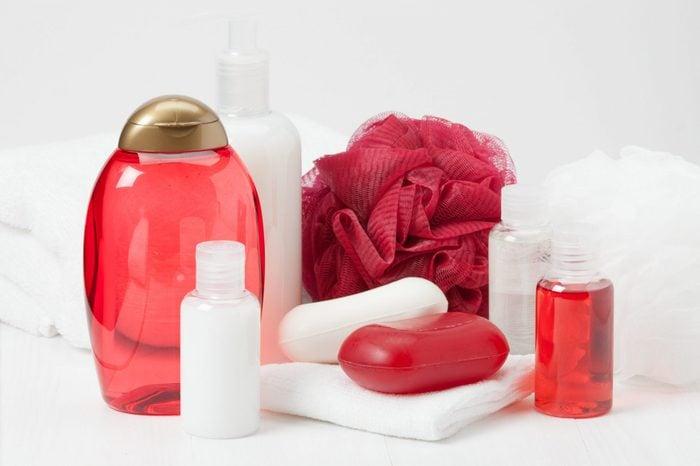Shampoo, Soap Bar And Liquid. Toiletries, Spa Kit, Towels