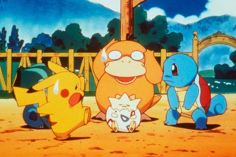 "1999 (L To R) Pikachu, Psyduck, Togepy, Squirtle In The Animated Movie ""Pokemon:The First Movie."""