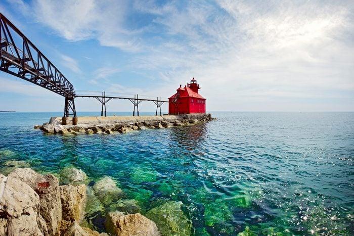 USA Wisconsin Door County Sturgeon Bay North Pierhead Ship Canal Lighthouse