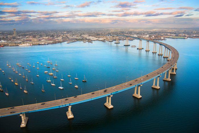 San Diego Coronado Bay Bridge From Above