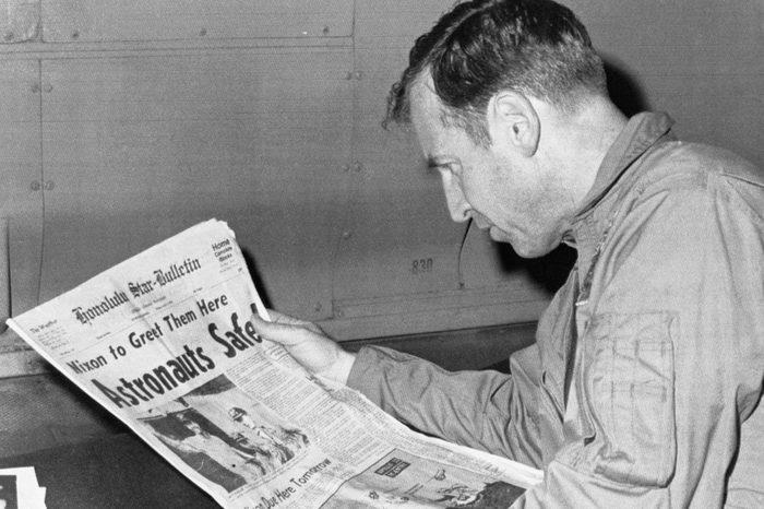 Apollo 13 Astronaut James Lovell Reads Headlines