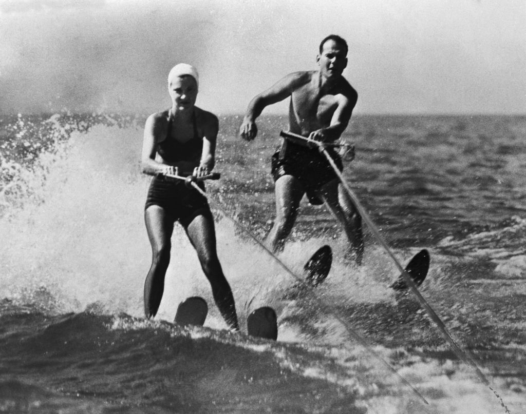 Dr. Samuel Sheppard and Wife Water-Skiing