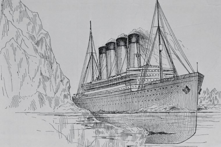 Drawing of the Titanic Hitting an Iceberg