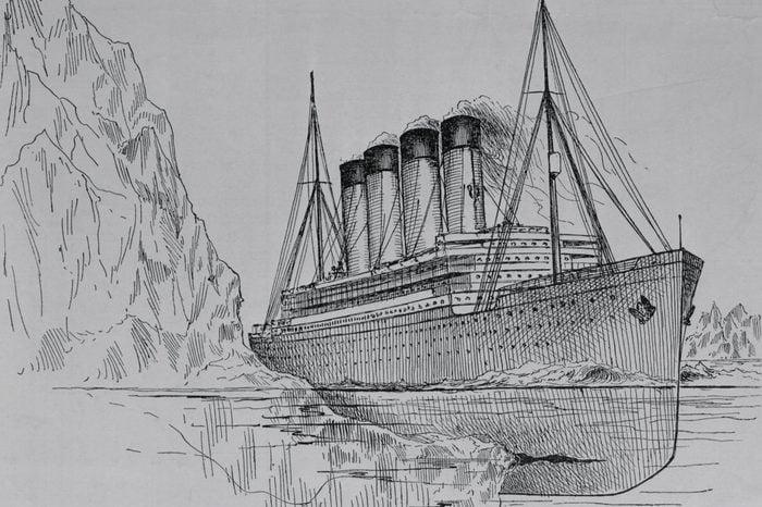 Drawing of the Titanic Hitting an Iceberg