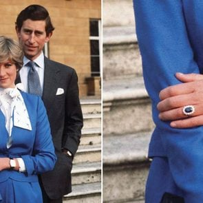 princess diana wearing her engagement ring; close up of the ring