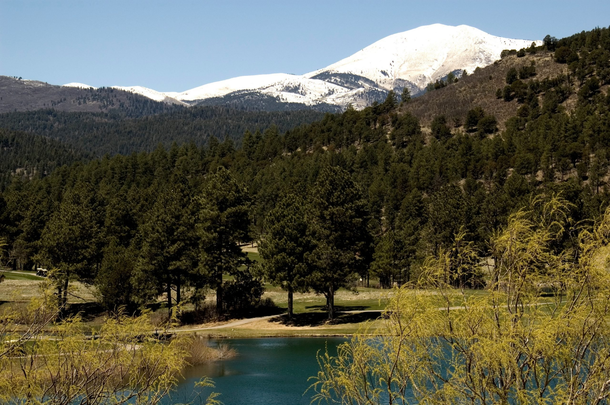 landscape with a lake and mountains; Ruidoso, New Mexico