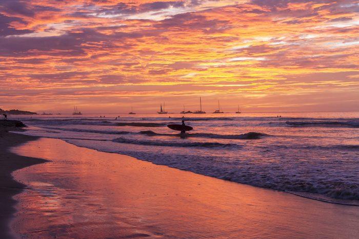 Surfboard Sunset Silhouette