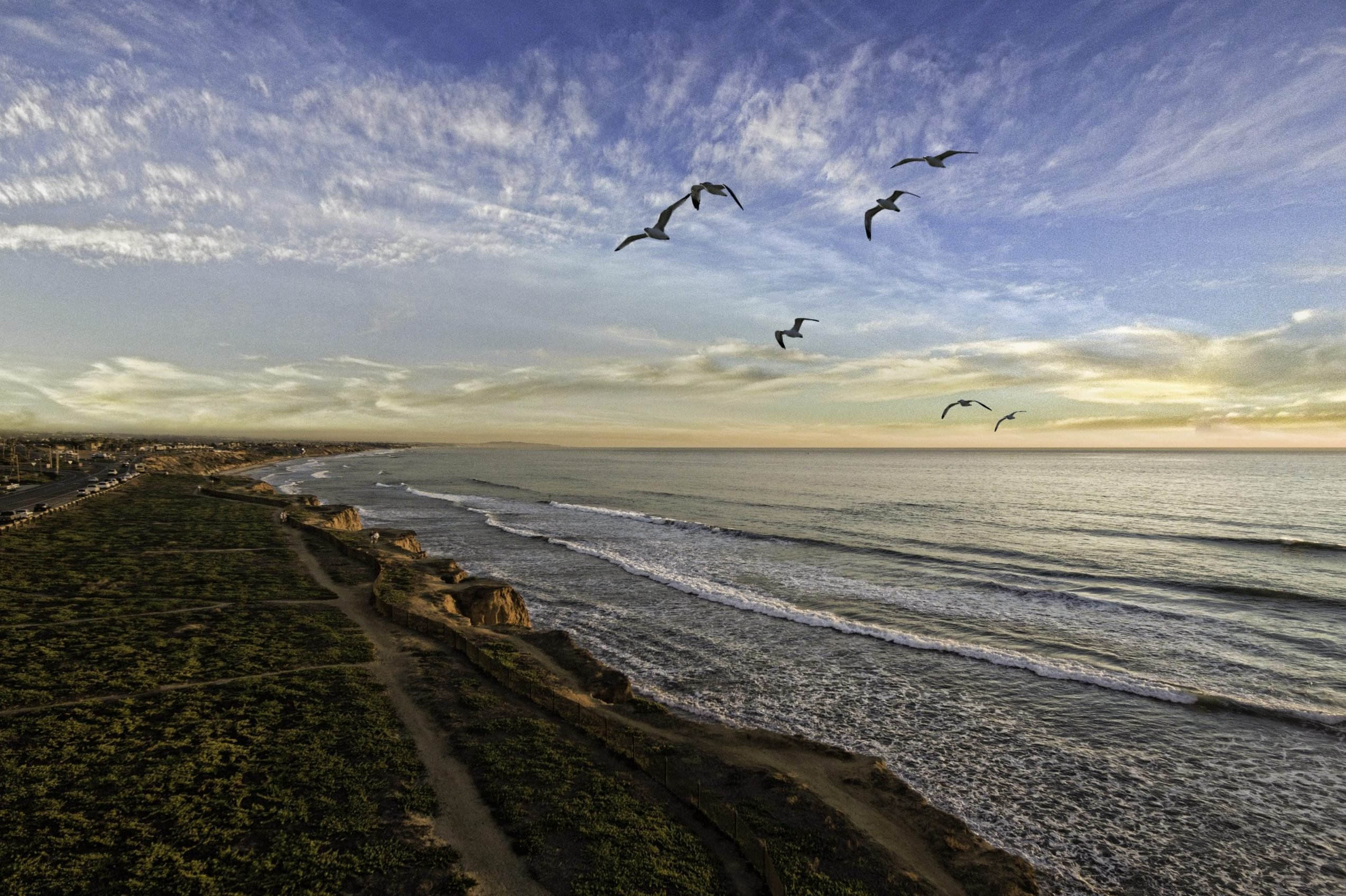 Seabirds fly past the Carlsbad Cliffs during a colorful sunset in Carlsbad, California