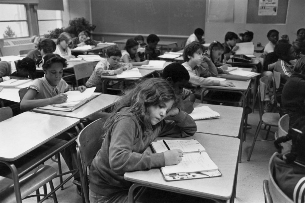 A 6th grade class at a school in Staten Island, New York City, 1979.