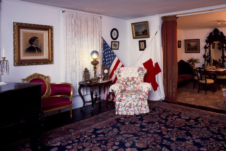 Interior of the Clara Barton House, home of the founder of the American Red Cross, Washington, D.C.