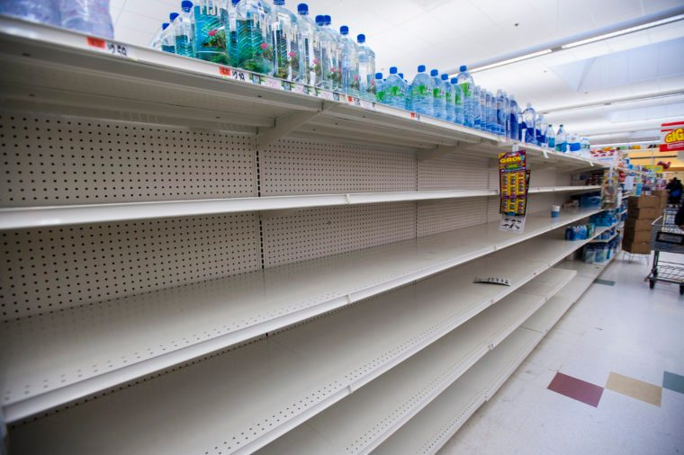 Empty shelves at Boston supermarket