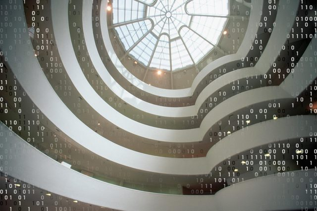 looking up inside the guggenheim museum in new york city with computer code overlay