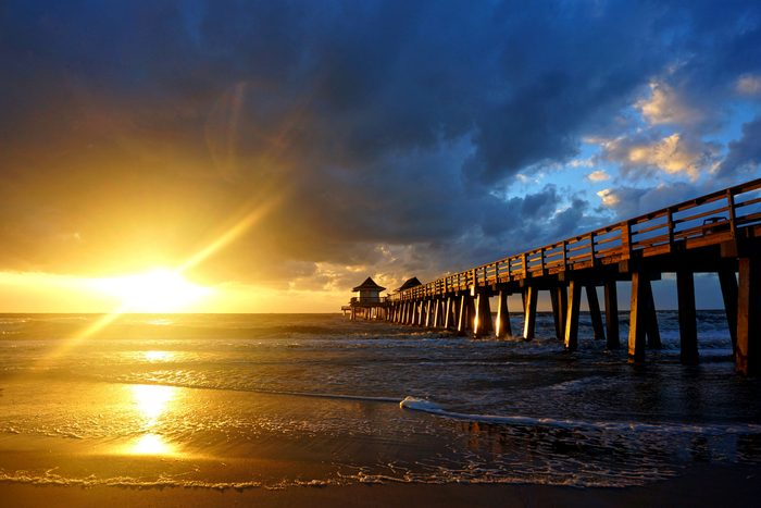 Naples Pier during sunset in Naples, Florida