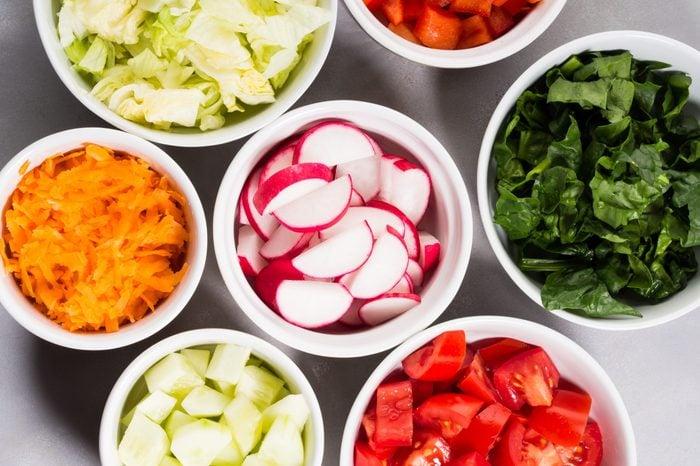 Mix of vegetable bowls for salad or snacks