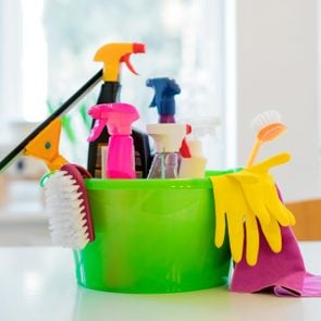 cleaning supples on the counter