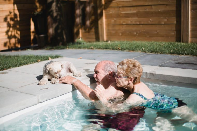 Senior couple in a swimming pool playing with a dog
