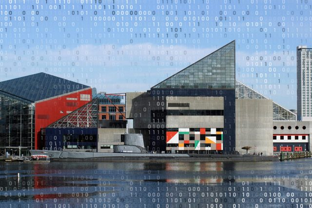 the national aquarium in baltimore maryland with computer code overlay
