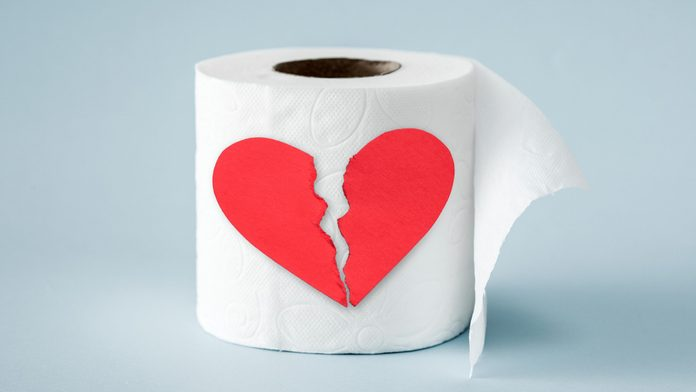 toilet paper with a broken heart