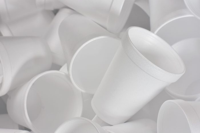 An abstract image of white Styrofoam coffee cups in a heap.