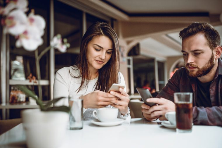 Couple with Rude Behaviour on Date in a Coffee