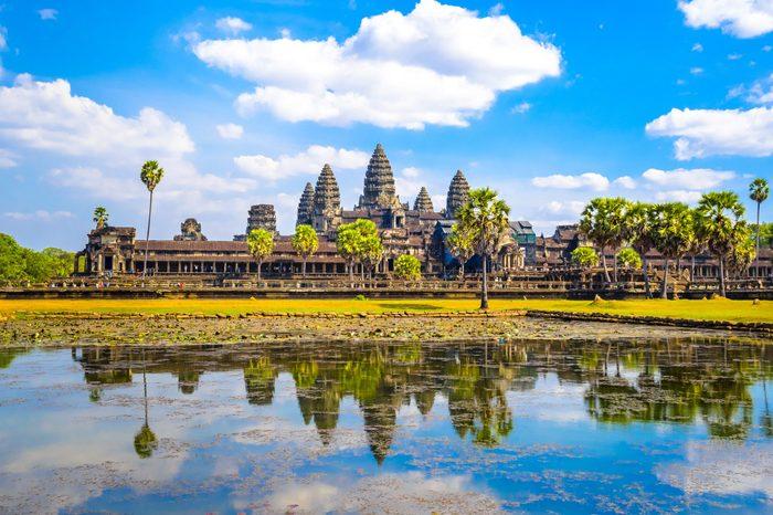 Morning blue sky Angkor Wat in Cambodia landscape travel photo