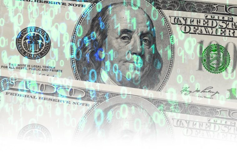 usa one hundred dollar banknotes among the binary code background, crypto currency and internet technology banking concept.