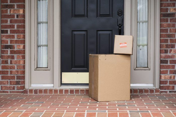 Packages waiting by the front door