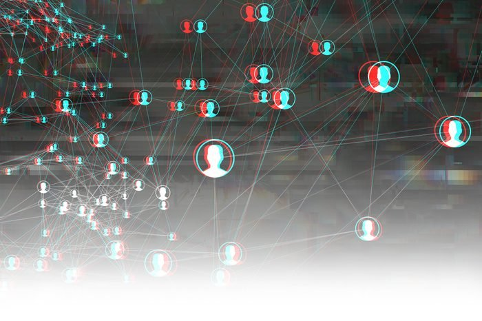 abstract cyber digital social media network concept