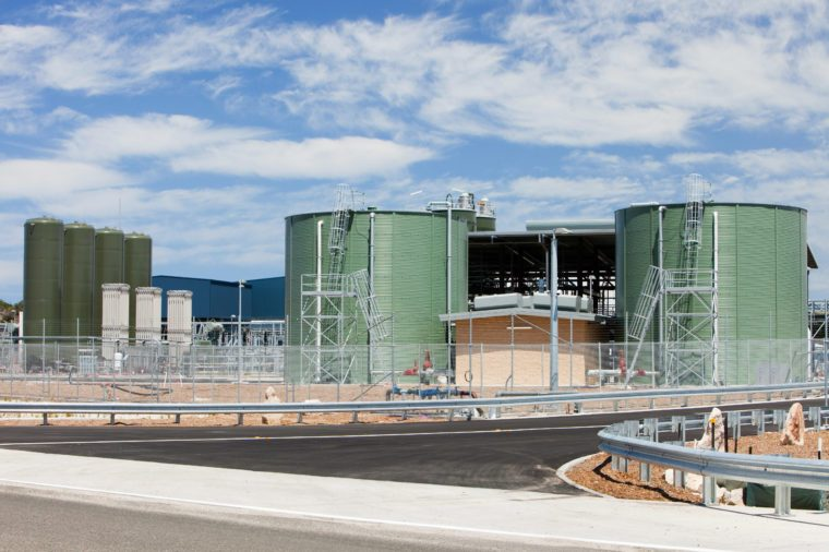 A new multi million $ desalination plant in Sydney, Australia. Muxh of Victoria and New South Wales have suffered an awful drought for the last 10-15 years. This has threatened water supplies to even major cities like Sydney. Making drinking water out of