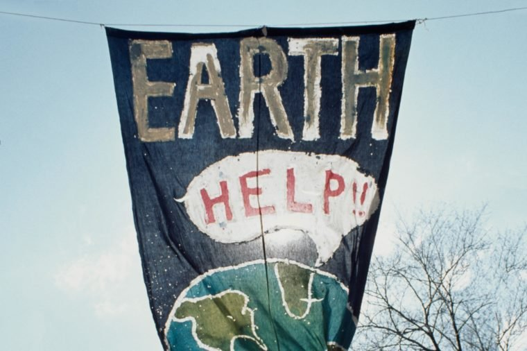 A banner at the inaugural Earth Day depicting the earth calling out for help, New York City, 22nd April 1970.