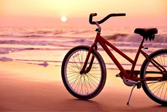 view of bike on a beach in Hilton Head, South Carolina
