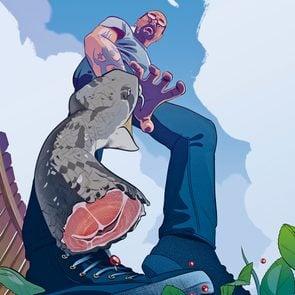 man and beheaded snake illustration