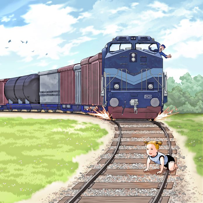 illustration; toddler on the train tracks with an incoming train