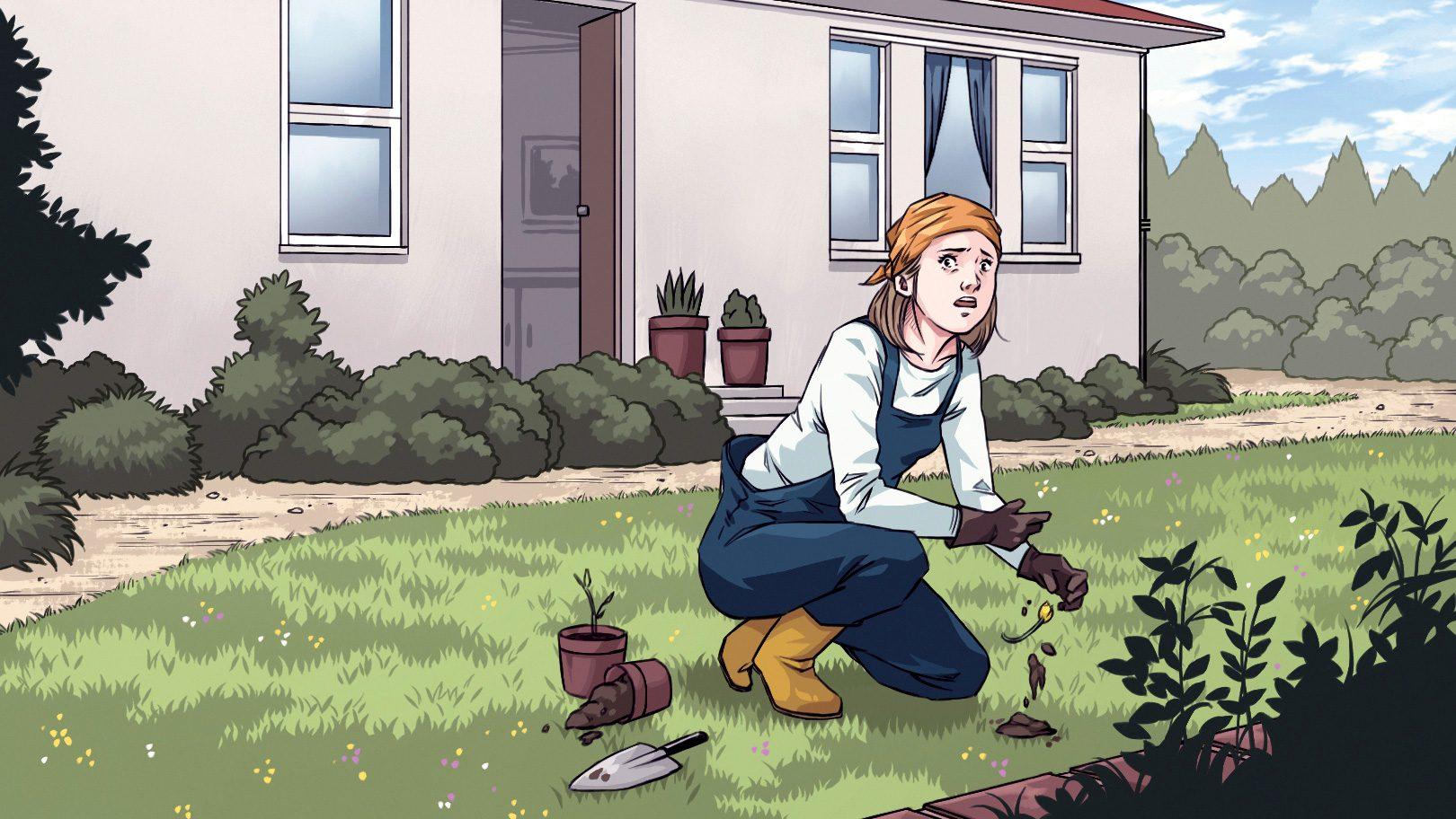 illustration; woman doing yardwork senses something is wrong