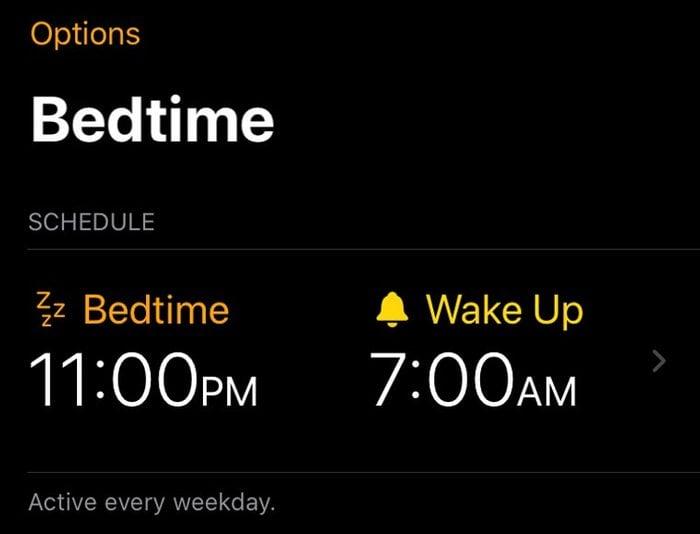 iphone screenshot. bedtime schedule.