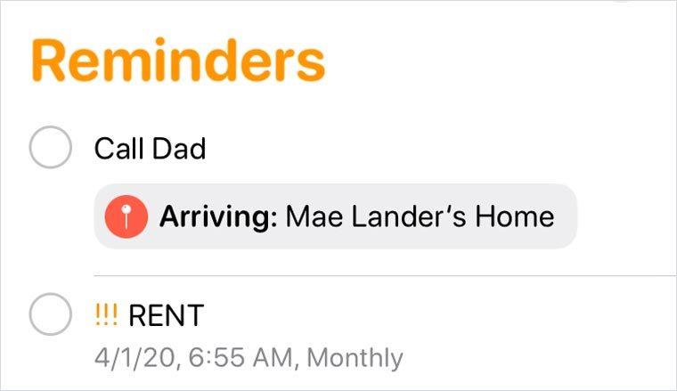 iphone screenshot. location reminder.