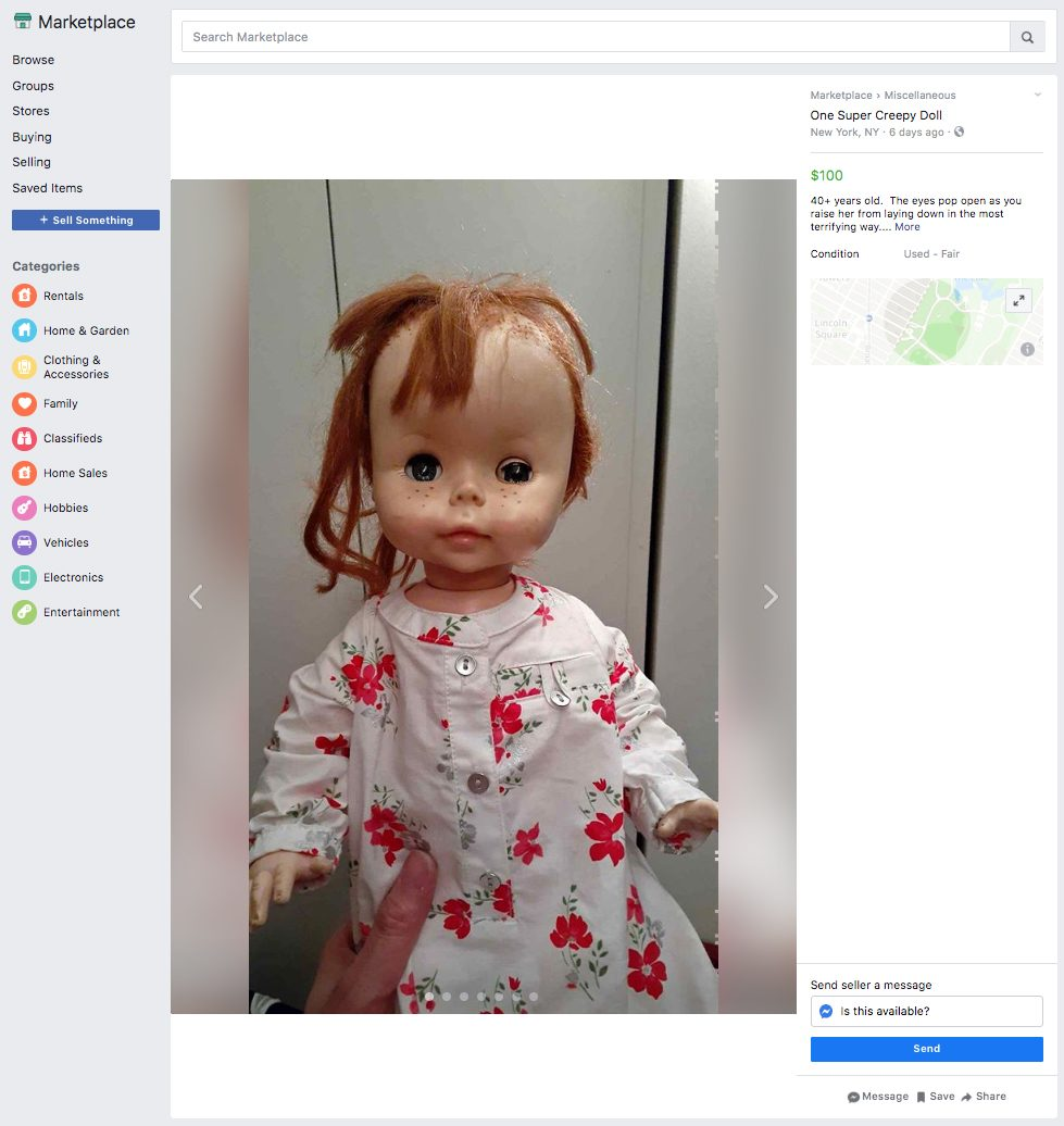 super creepy doll ridiculous things sold facebook marketplace