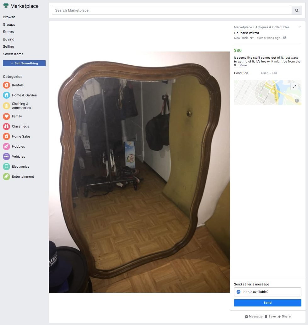 haunted mirror ridiculous things sold facebook marketplace