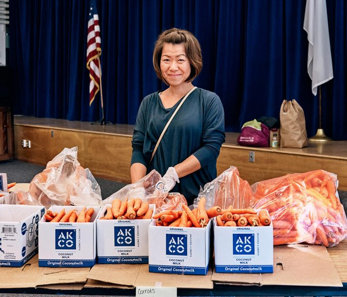 Akiko Lame volunteering at Feeding San Diego
