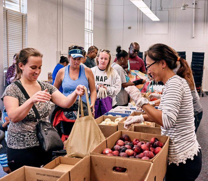 inside the food pantry, Feeding San Diego, at Dewey Elementary