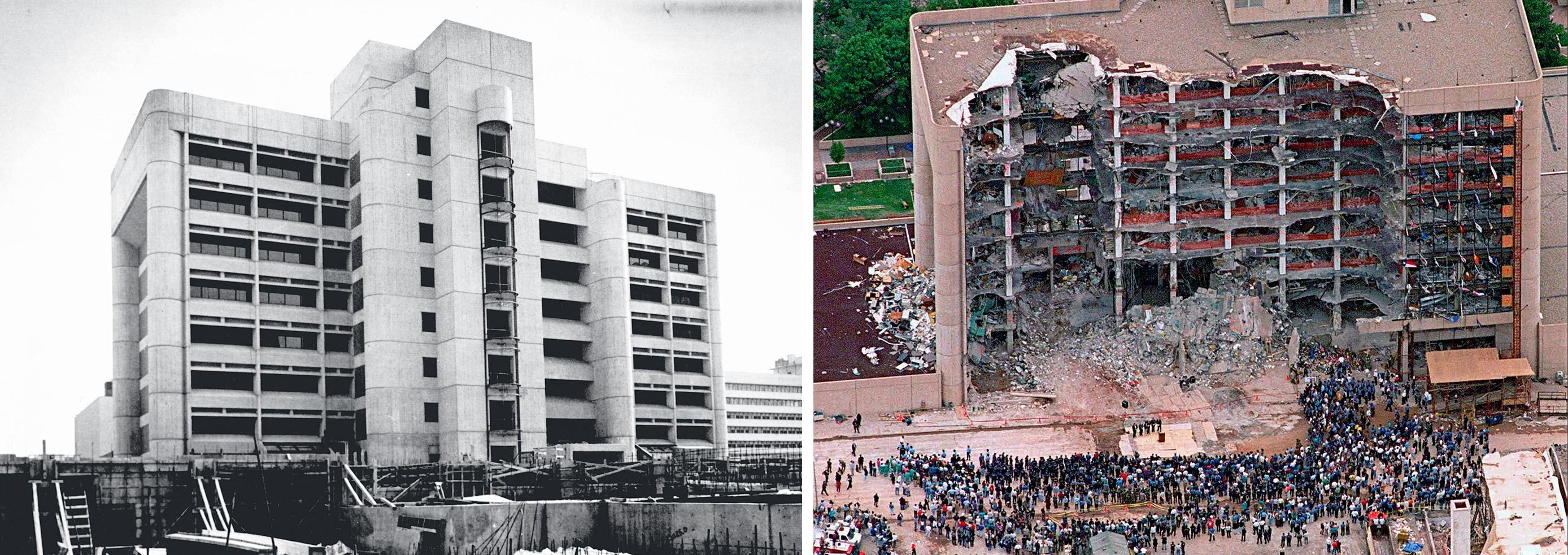 the building facade before and after the bombing