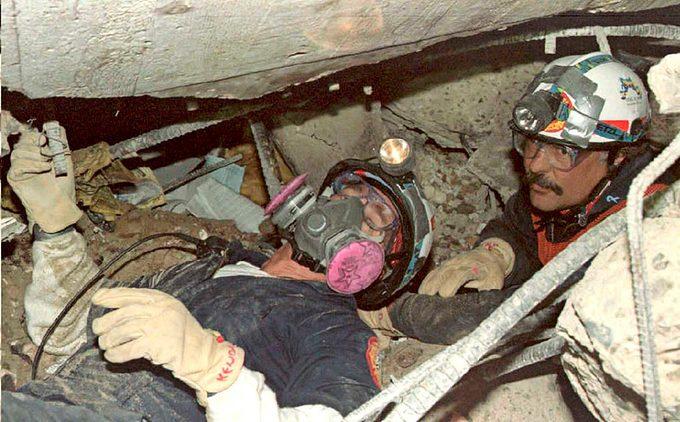 rescuers working underground